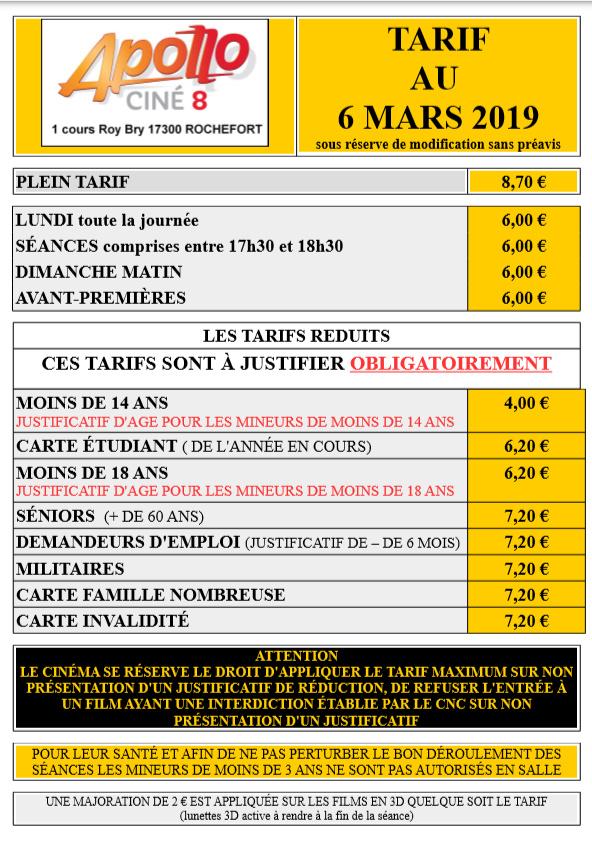 Carte Cezam Ticket Cinema.Les Tarifs Du Cinema Rochefort Apollo 8